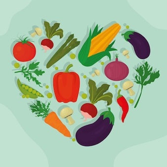 Cibo sano a forma di cuore di verdure