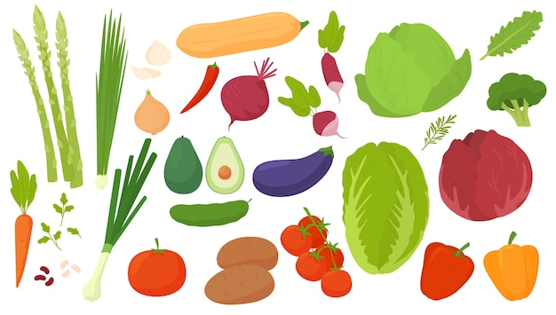 Icone di verdure impostate in stile cartone animato. prodotto agricolo da collezione per menu del ristorante, etichetta del mercato.