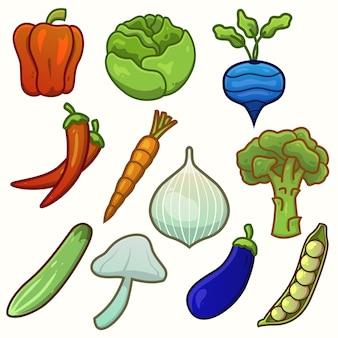 Pacchetto di illustrazioni di verdure