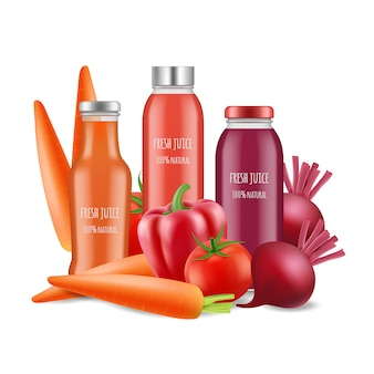 Illustrazione di succhi di verdura. bottiglie e verdure realistiche del succo isolate su fondo bianco