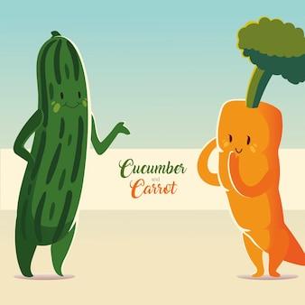 Verdure kawaii carino cetriolo e carota in stile cartone animato illustrazione vettoriale