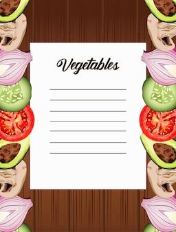Verdure scritte in carta nota con cibo sano in fondo in legno