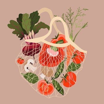 Verdure in una rete. varietà di verdure fresche in un sacchetto di riciclaggio. illustrazione disegnata a mano alla moda per il web e banner design. concetto di drogheria, supermercato e shopping. uno stile di vita sano.