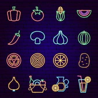 Icone al neon di verdure. illustrazione vettoriale di promozione picnic.
