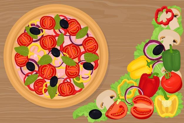 Verdure e pizza con pomodori e peperoni