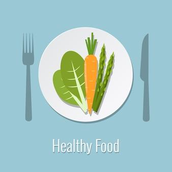 Verdure in un piatto cibo sano