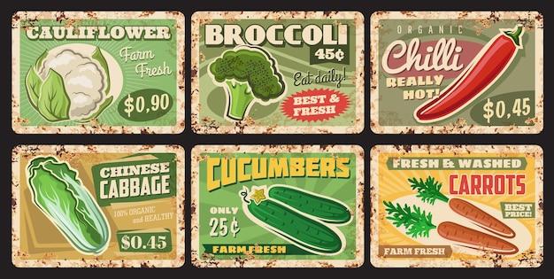 Piatti di metallo arrugginiti di verdure, cartellini dei prezzi vettoriali