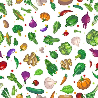 Disegno dell'illustrazione del disegno del modello senza cuciture delle verdure