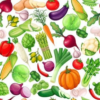 Modello senza cuciture di verdure, illustrazione vettoriale. sfondo con carciofo, porro, mais, aglio, cetriolo, peperone, cipolla, sedano, asparagi, cavolo e ets.
