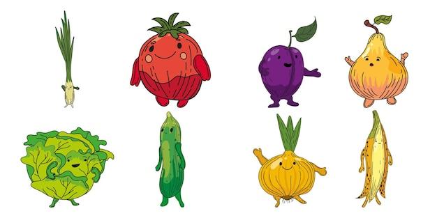 Set di verdure personaggi di schizzo disegnato a mano collezione di cartoni animati porro cipolla prugna pera cavolo cetriolo cipolla banana