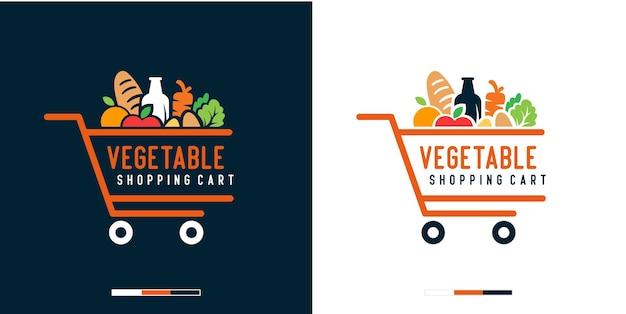 Modello di progettazione del logo del carrello della spesa di verdure