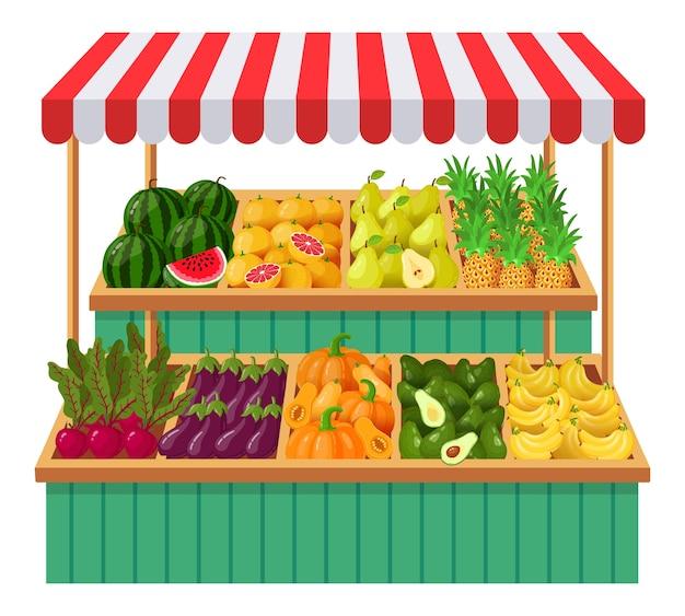 Illustrazione della stalla del supermercato di verdure