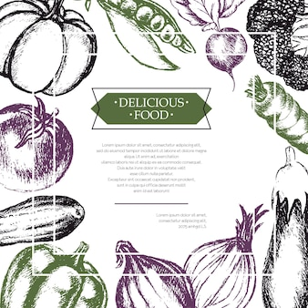 Verdure - volantino composito disegnato a mano di vettore di tre colori con copyspace. broccoli realistici, zucca, ravanello, cipolla, pomodoro, melanzana, peperone, cetriolo carota pisello