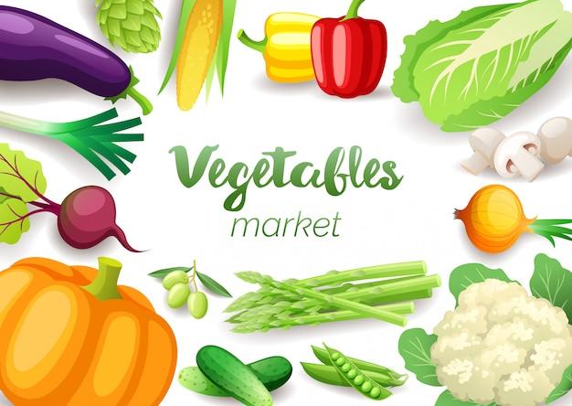 Cornice vista dall'alto di verdure. disegno del menu del mercato degli agricoltori. verdure fresche colorate, alimenti sani biologici