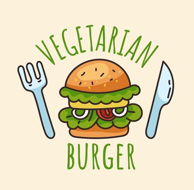 Concetto di design dell'autoadesivo del logo dell'hamburger vegetariano illustrazione di progettazione grafica del fumetto piatto vettoriale