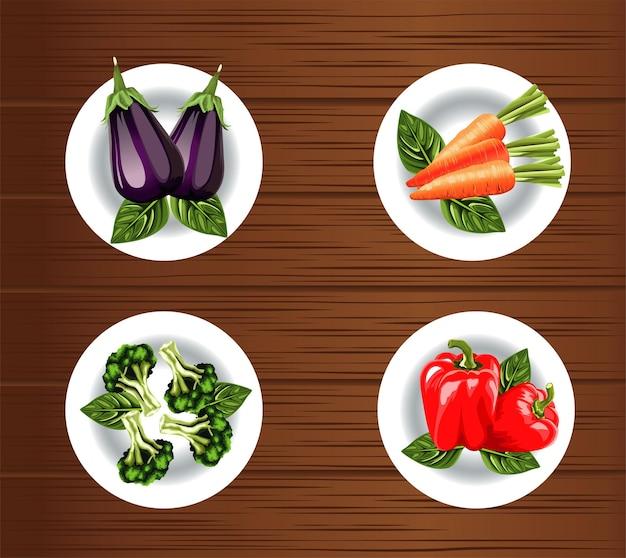 Cibo vegetariano con verdure nel piatto su sfondo di legno