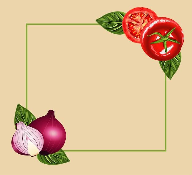 Cornice di cibo sano vegetariano con pomodori e cipolle