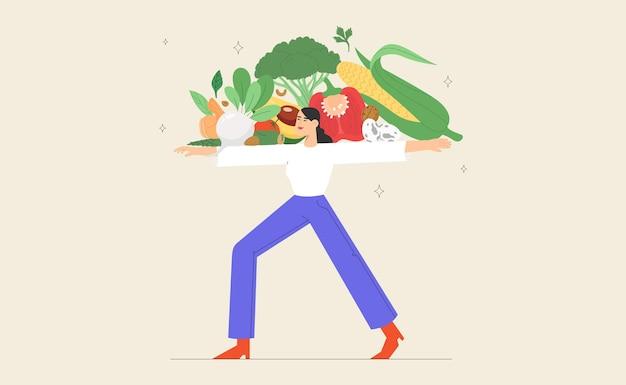La donna vegetariana tiene la verdura fresca