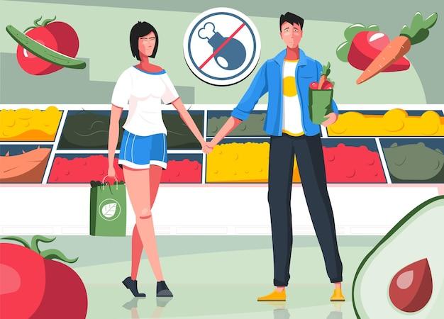 Composizione piatta nel vegetarianesimo con vista sulla drogheria con un paio di vegani dello shopping e immagini di illustrazioni di verdure