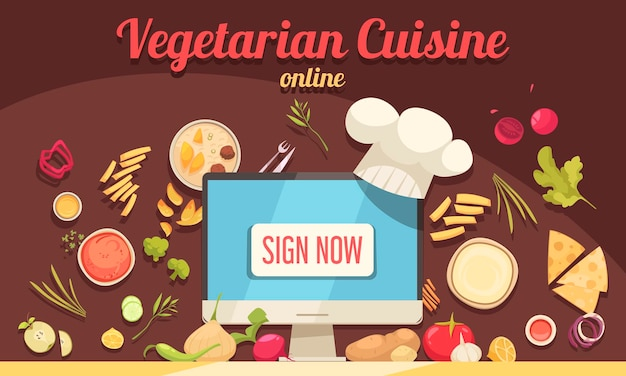 Poster di cucina vegetariana con simboli di cucina online piatta illustrazione vettoriale