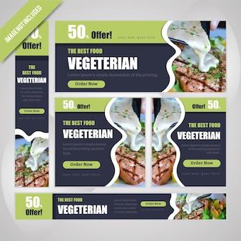 Set di banner web vegeterian per ristorante con sconto.