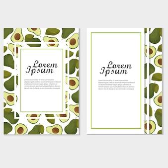 Modello di elementi di amante vegetariano di invito o poster con illustrazione vettoriale di avocado