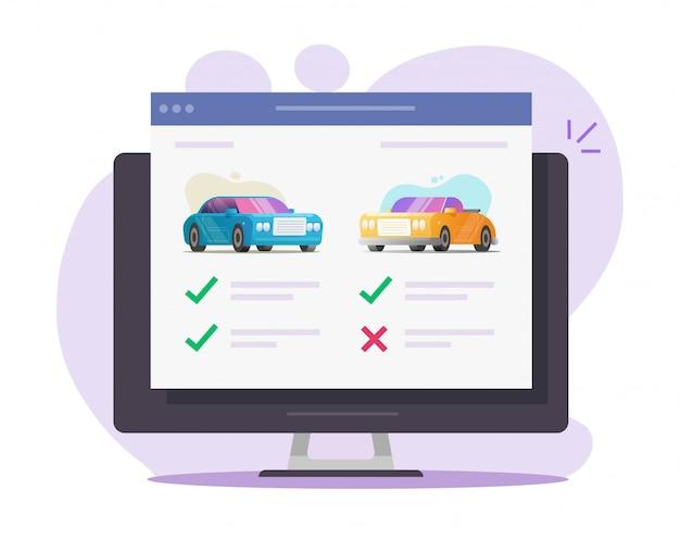 Asta digitale web di autoveicoli con revisione auto, idea di scelta per il noleggio di automobili