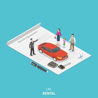 Concetto isometrico piatto di noleggio di veicoli.