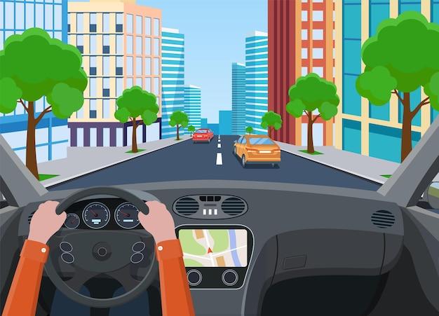 Salone del veicolo, conducente di auto interno