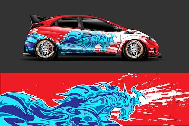 Avvolgere il veicolo e design adesivo in vinile con sfondo astratto da corsa