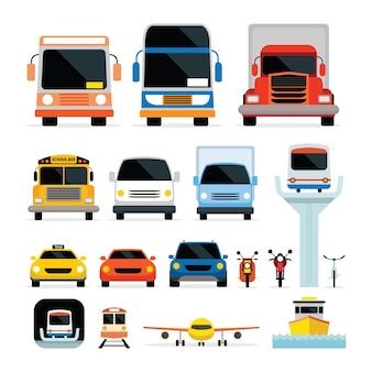 Veicoli, automobili e mezzi di trasporto nella vista frontale, modalità di trasporto