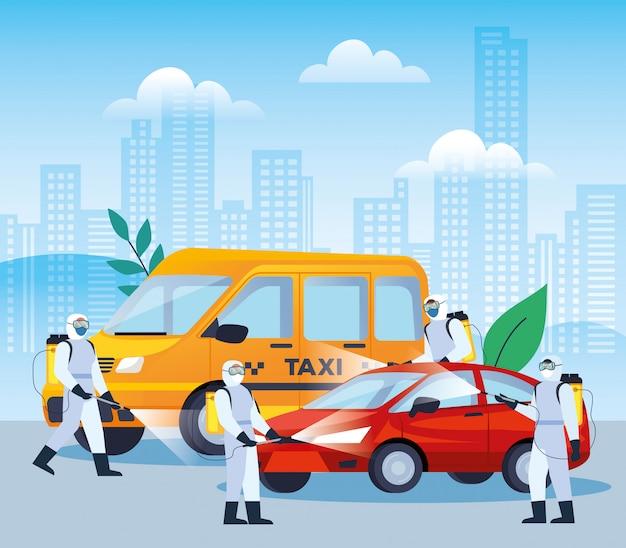 Servizi di disinfezione di veicoli per la progettazione di illustrazioni di malattie 19