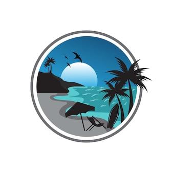 Vector desain logo pantai illustrazione vettoriale