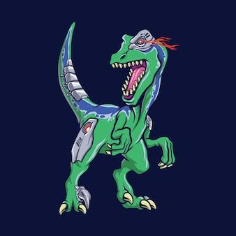 Illustrazione della mascotte del velociraptor