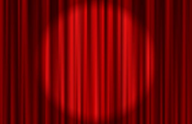 Tenda rossa in velluto con cerchio di luce. sfondo astratto. illustrazione.