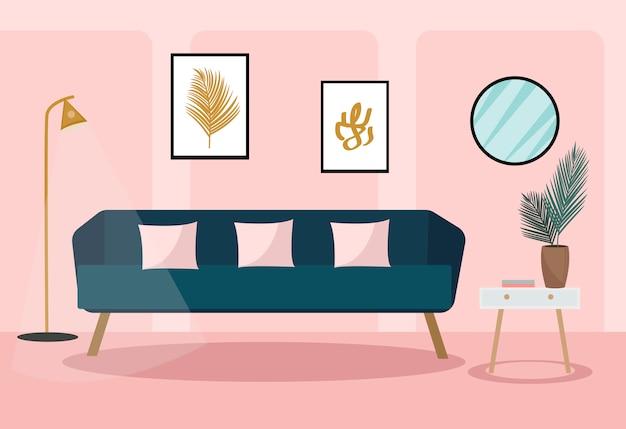 Divano in velluto nel soggiorno. interni moderni e alla moda. pianta nella stanza, mobili retrò. illustrazione