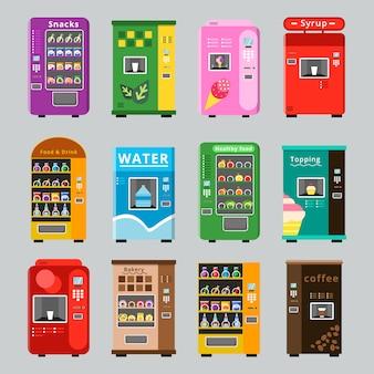 Collezione di distributori automatici. concetto di merchandising con vendita automatica di vari snack, acqua, caffè e immagini di cibi freschi