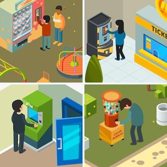Distributori automatici. la gente che beve mangiando il gelato delle patatine fritte degli spuntini degli alimenti a rapida preparazione che compra nelle immagini isometriche di concetto automatico del negozio