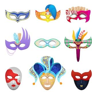 Maschere per il viso di carnevale veneziano impostato per travestimento tradizionale isolato