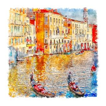 Illustrazione disegnata a mano di schizzo dell'acquerello di venezia italia