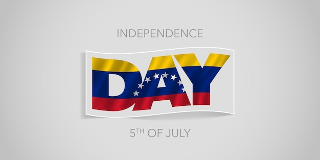 Venezuela felice giorno dell'indipendenza. bandiera venezuelana ondulata in un design non standard per la festa nazionale del 5 luglio