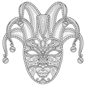 Carnevale di venezia. illustrazione di schizzo disegnato a mano per libro da colorare per adulti