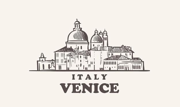 Illustrazione disegnata a mano di italia di schizzo di paesaggio urbano di venezia
