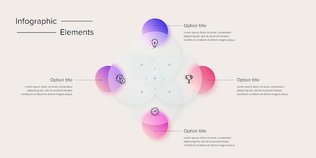 Diagramma di venn nel modello infografico del cerchio glassmorphic. 4 forme circolari sovrapposte per l'illustrazione grafica della logica. infografica vettoriale nel design glassmorphism.