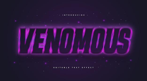 Stile di testo velenoso in nero e viola con effetto neon incandescente