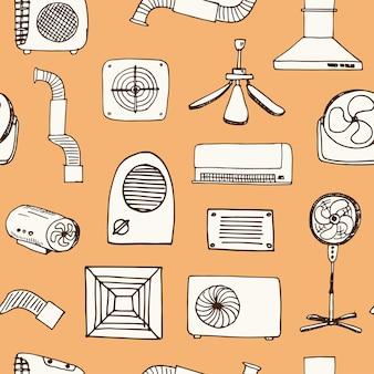 Reticolo senza giunte di doodle disegnato a mano di ventilazione