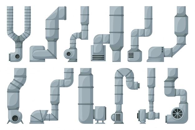 Icona stabilita del fumetto del tubo di ventilazione. tubo stabilito isolato di ventilazione dell'icona del fumetto. sistema di aria illustrazione su sfondo bianco.