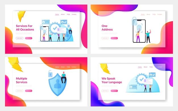 Set di modelli di pagina di destinazione della tecnologia di sicurezza informatica di verifica