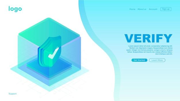 Icona verificata nella pagina di caricamento della casella sito web icona approvata icona approvata verificata e protetta
