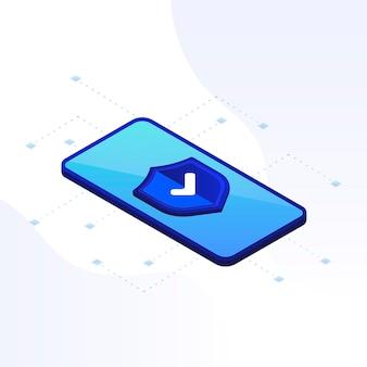 Icona verificata sullo schermo del telefono icona approvata segno di spunta icona approvata verificata e protetta